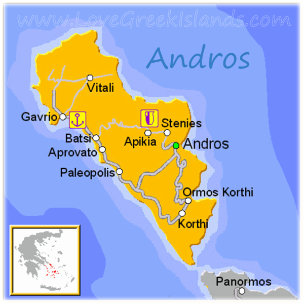 Map of Andros