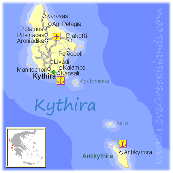 Map of Kythira Greece Greek Islands