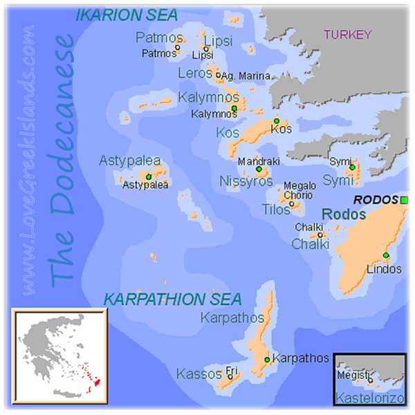 Map of Dodecanese